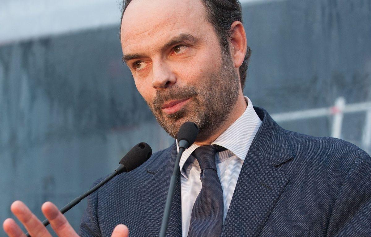 Edouard Philippe, député-maire Les Républicains du Havre (Seine-Maritime) aux chantiers navals de Saint-Nazaire le 1er février 2016. – EBASTIEN SALOM-GOMIS/SIPA