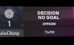 Un but refusé pour hors-jeu en Premier League, lors du match Leicester-Southampton, le 11 janvier 2020.