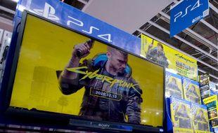 Le jeu Cyberpunk 2077 mis en avant dans un magasin de Tokyo (Japon), en décembre 2020.