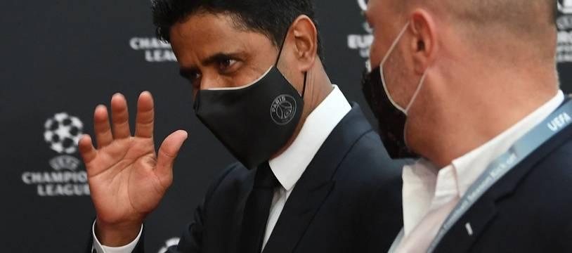 Nasser Al-Khelaïfi, ce jeudi à Istanbul lors du tirage au sort de la Ligue des champions.