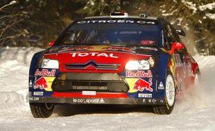 Sébastien Loeb remporte le rallye de Norvège, le 15 février 2009.
