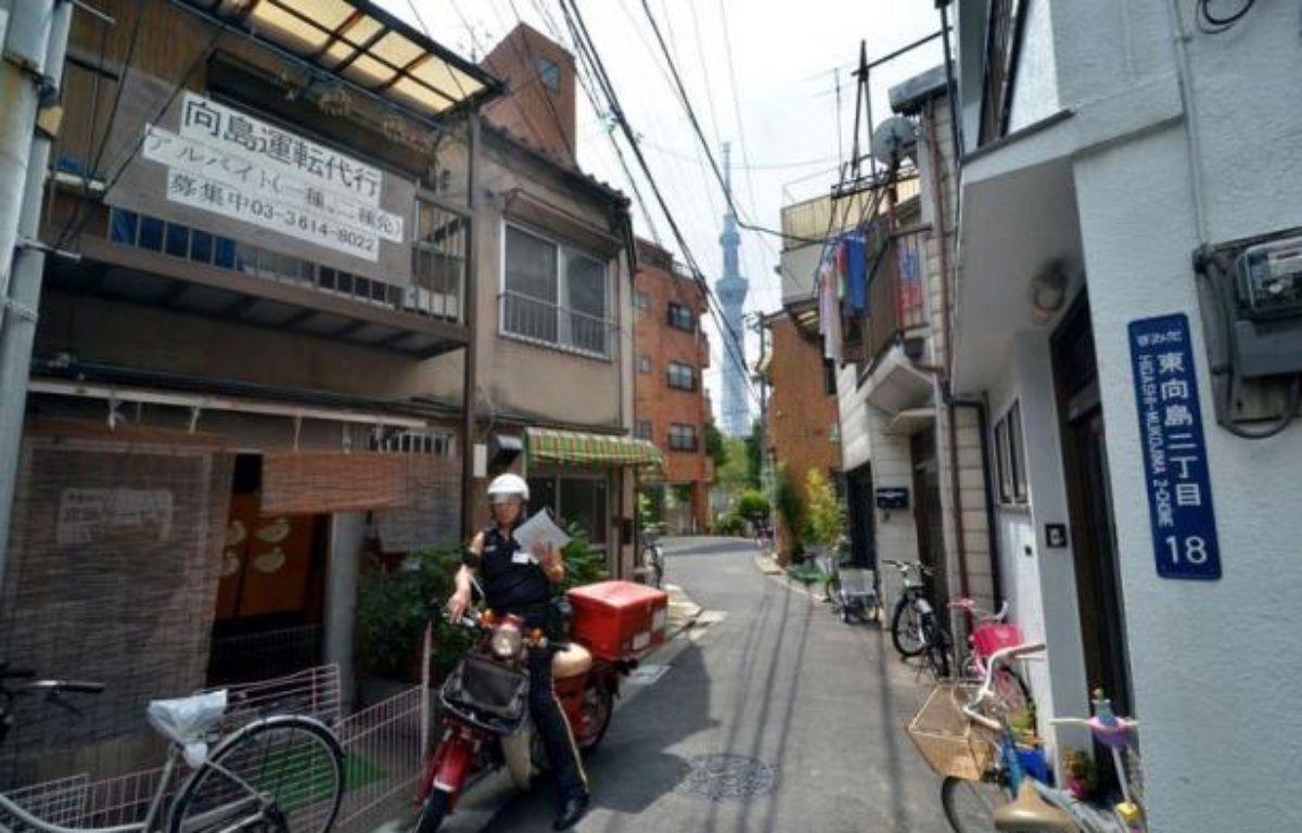 """Vu de 350 mètres de haut, le quartier Sumida, dans le nord de Tokyo, ressemble à un inextricable patchwork de ruelles et de maisonnettes serrées à se toucher. Plantée au beau milieu, la """"Sky Tree Tower"""", haute comme deux Tour Eiffel, surveille ce quartier qui se prépare calmement au """"Big One"""", le séisme du siècle. – Jacques Lhuillery afp.com"""