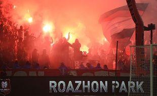 Craquage de fumigènes lors de Rennes-Lille, le 21 octobre 2017.