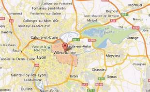 Villeurbanne, capture d'écran Google maps.