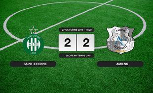 Ligue 1, 11ème journée: Match nul entre l'ASSE et Amiens (2-2)