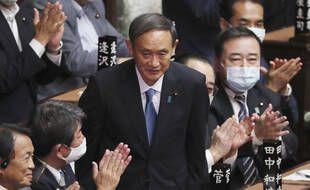 Le nouveau premier ministre japonnais, Yoshihide Suga, lors de son élection.