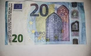 Illustration d'un faux billet de 20 euros.