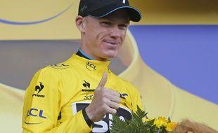 Chris Froome à l'arrivée de la 12e étape du Tour de France, le 16 juillet 2015.
