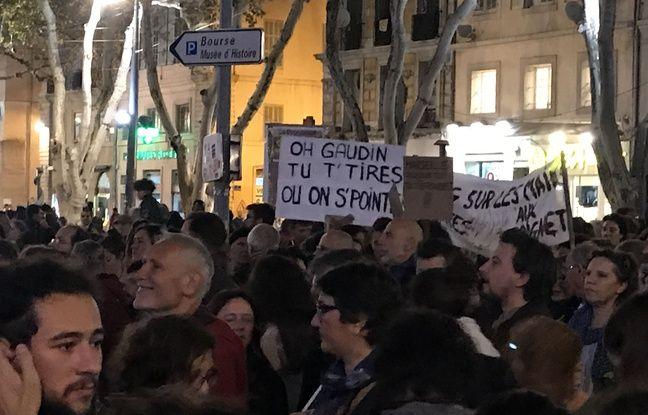 De nombreux slogans hostile à Gaudin étaient brandis.