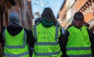 """Des """"gilets jaunes"""" lors d'une mobilisation. Illustration."""