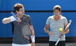Andy Murray et Amélie Mauresmo à l'Open d'Australie le 24 janvier 2016.