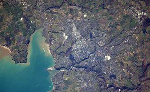 La baie de Saint-Brieuc photographiée depuis l'espace par Thomas Pesquet.