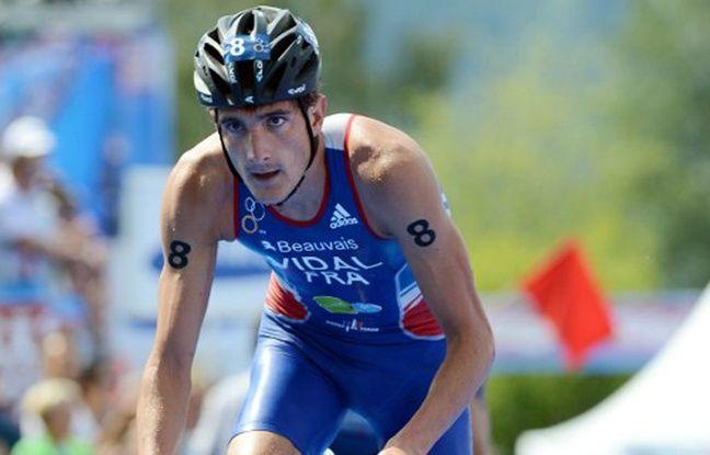 Laurent Vidal lors d'une manche du championnat du monde de triathlon à Kitzbühel, le 24 juin 2012.