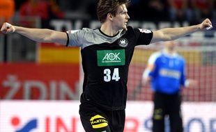 Rune Dahmke lors de Danemark-Allemagne à l'Euro de handball, le 21 janvier 2018.