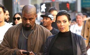 Kanye West et Kim Kardashian lors d'une promenade digestive à San Francisco, le 10 octobre 2015
