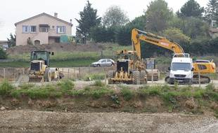 Lyon, le 24 octobre 2012. Les travaux du futur grand stade dit Des Lumières, qui accueilleras l'équipe de foot de l'OL. CYRIL VILLEMAIN/20 MINUTES