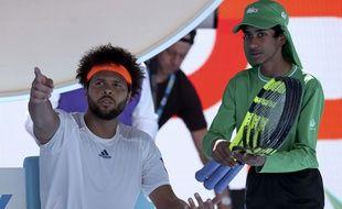 Tsonga lors de son quart de finale contre Wawrinka à l'Open d'Australie 2017.