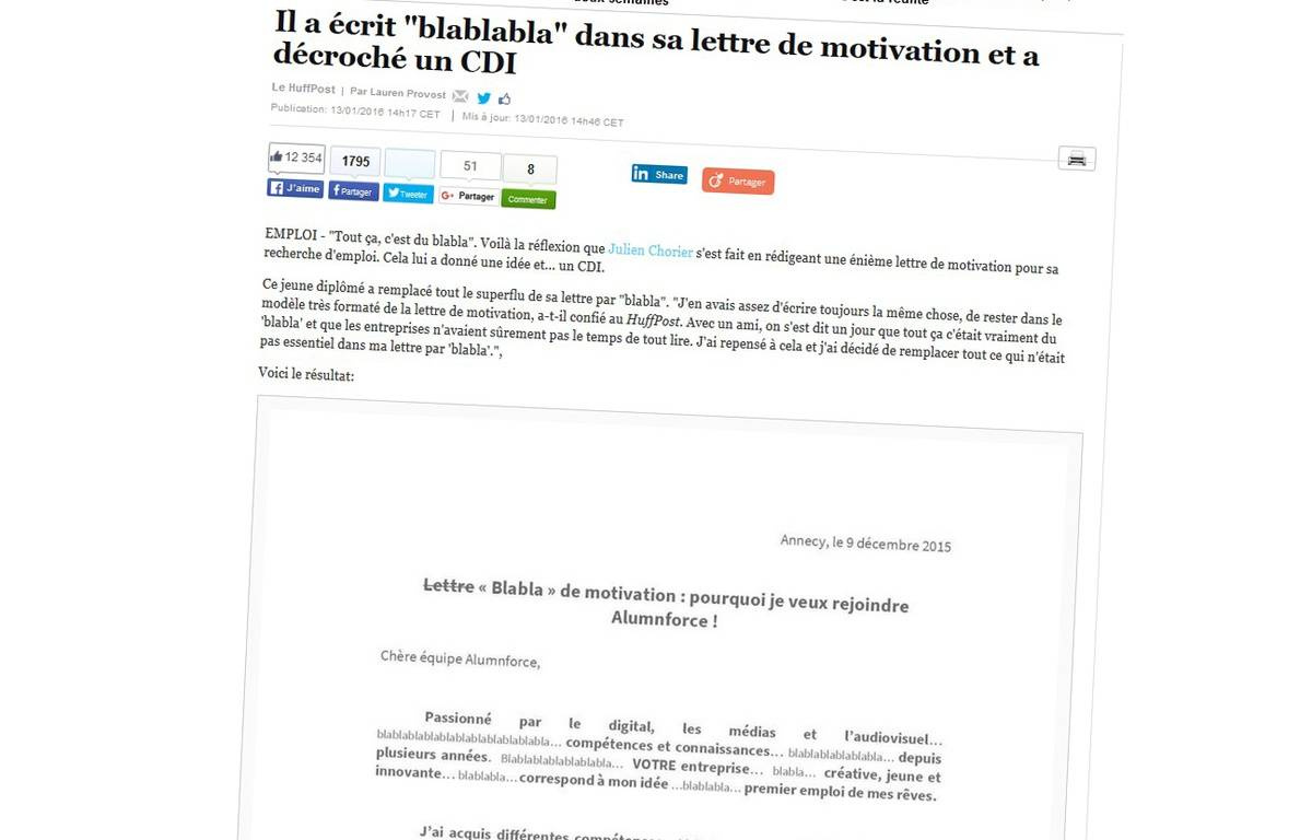 Capture d'écran de l'article du Huffington Post, qui publie la lettre de blablabla... – Huffington Post
