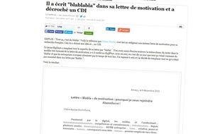 Capture d'écran de l'article du Huffington Post, qui publie la lettre de blablabla...