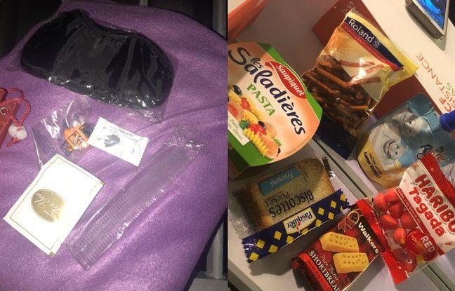 Le kit de nuit et le repas des passagers d'un TGV coincé à Lyon pour la nuit.