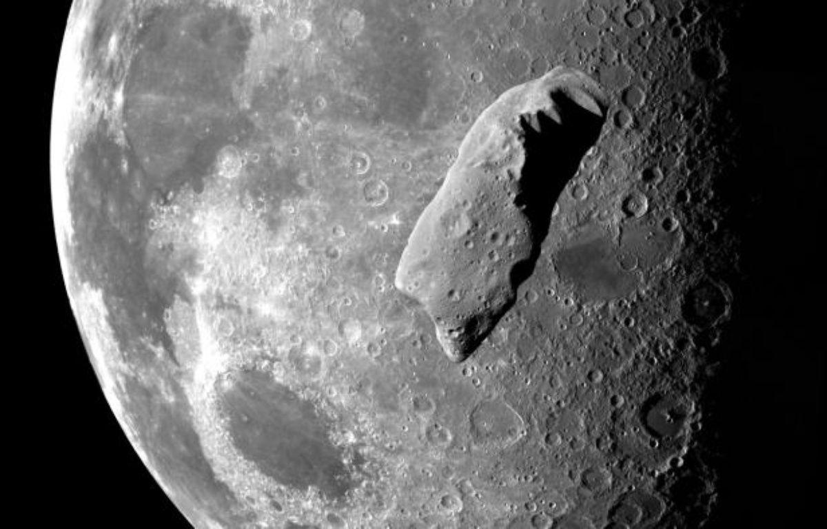 Photomontage d'un astéroïde en orbite autour de la Lune. – NASA/P.V.D.VAART