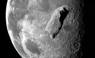 Photomontage d'un astéroïde en orbite autour de la Lune.
