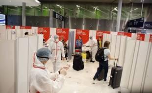 La zone de dépistage de l'aéroport de Roissy