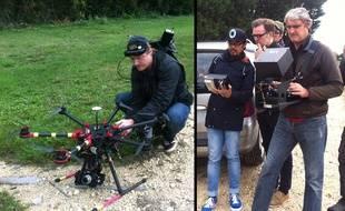 Pascal Anquetil pilote le drone et Lilian Marolleau commande la caméra.  Benito Bautista, le réalisateur, regarde le moniteur video pour vérifier la scène
