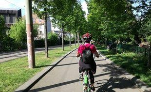 Casque sur la tête, Velhop entre les mains, des adultes prennent des cours de vélo à Strasbourg.