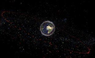 Des débris spatiaux en orbite autour de la Terre.
