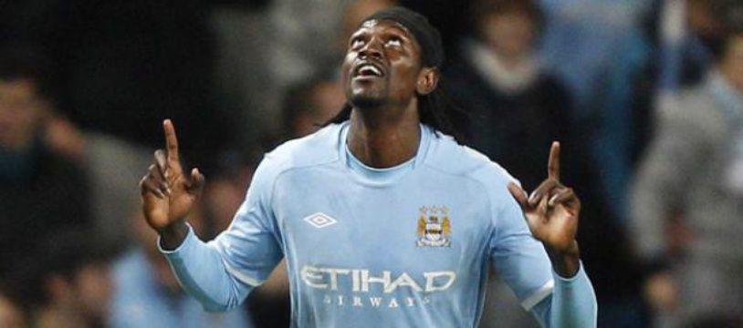 L'attaquant togolais de Manchester City Emmanuel Adebayor le 21 octobre 2010 face au Lech Poznan.