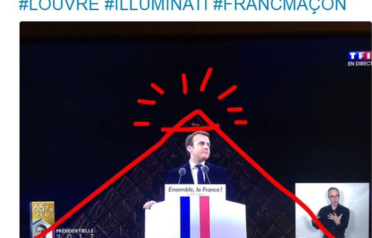 Des internautes s'interrogent sur le choix du lieu pour fêter sa victoire d'Emmanuel Macron. – CAPTURE ECRAN TWITTER