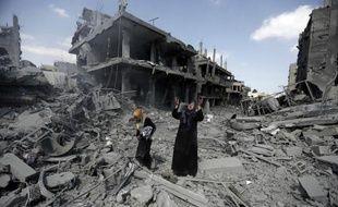 Le quartier de Beit Hanun totalement détruit après les bombardements israéliens, le 26 juillet 2014