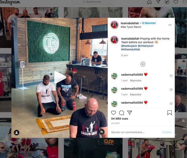 Capture d'écran du compte Instagram du champion de kickboxing Amer Abdallah confirmation qu'il prie avec Badou Jack et Mike Tyson dans le complexe californien de ce dernier.