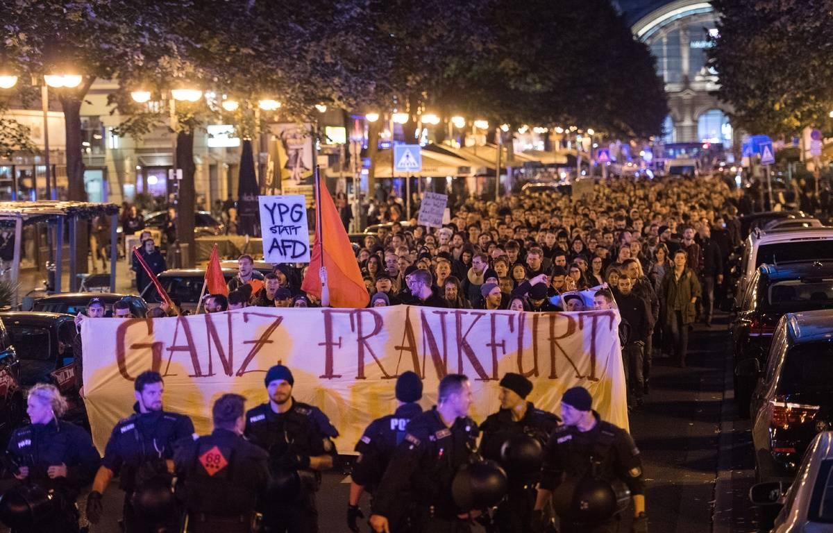 Manifestation contre l'AfD à Francfort, le 24 septembre 2017. – Andreas Arnold / dpa / AFP