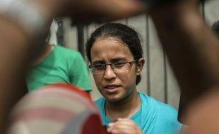 La lycéenne Mariam Malak, devenue l'icone de la lutte contre la corruption en Egypte, le 9 septembre 2015 au Caire