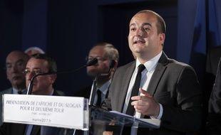 Le directeur de campagne de Marine Le Pen, David Rachline, en conférence de presse le 26 avril 2017 à Paris.