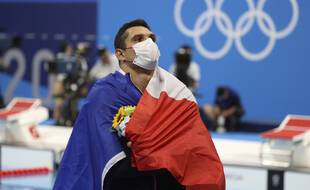Florent Manaudou médaillé d'argent du 50m nage libre aux JO de Tokyo.