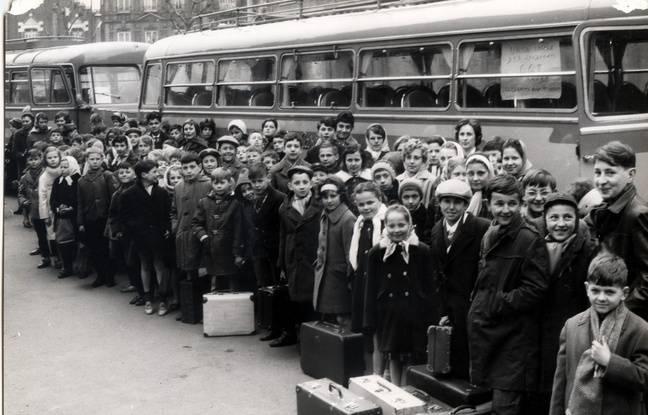 Départ des enfants de mineurs du Nord -Pas-de-Calais en mars 1963.