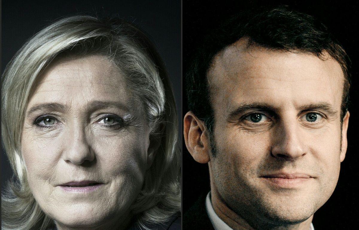 Photomontage des candidats à la présidentielle, Marine Le Pen et Emmanuel Macron, réalisé le 21 février 2017, données en tête d'un sondage sur les intentions de vote des jeunes. – JOEL SAGET / AFP