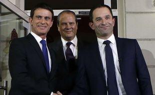 Manuel Valls, Jean-Christophe Cambadélis et Benoît Hamon à Solférino, le 29 janvier 2017, après le second tour de la primaire du PS.