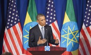 Le président américain Barack Obama lors  d'une presse conférence à Addis Ababa, en Ethiopie, le 27 juillet 2015.