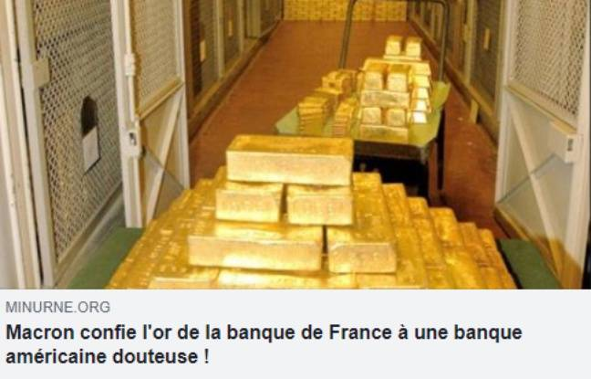 La capture d'écran du post Facebook relayant l'intox sur l'or de la Banque de France.