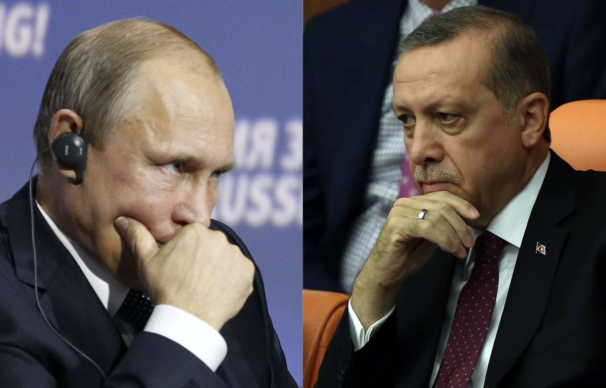 Montage: Vladimir Poutine et Recep Tayyip Erdogan en 2015. – Sergei Karpukhin/Burhan Ozbilici/AP/SIPA