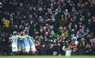 Les supporters de Manchester City lors d'un match contre Liverpool, le 3 janvier 2019.