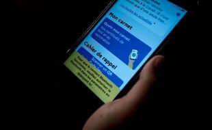 Photo d'illustration d'un pass sanitaire sur un smart phone.