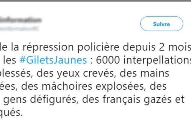 Un tweet sur le nombre de «gilets jaunes» blessés.