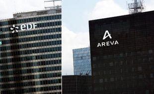 Montage de deux photos d'archives des sièges sociaux d'EDF et du groupe nucléaire français Areva, à la Défense, près de Paris