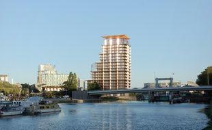 Vue de la tour du projet Saupin à Nantes