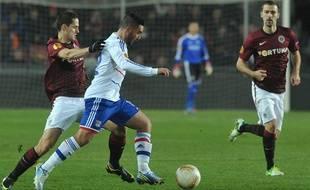 Les Lyonnais ont assuré leur première place de leur poule de Ligue Europa sur la pelouse de Prague le 22 novembre 2012.